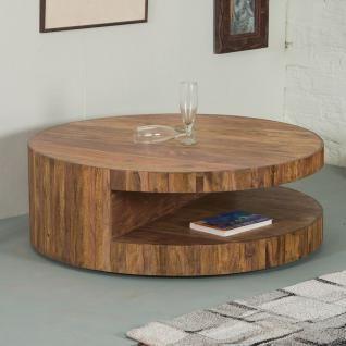 NEU Couchtisch Wohnzimmertisch Wohnzimmer Beistelltisch Tisch SKIVOR Sheesham Holz Rund 90x90cm Bei DES Deutsche E