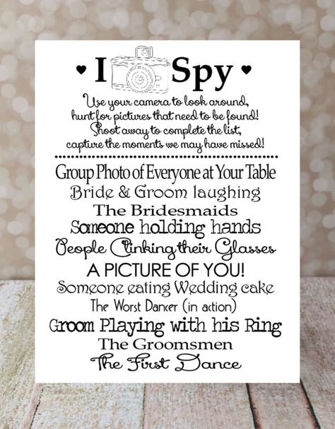 I SPY Wedding Game DIY Printable, Photo Challenge. Keepsake Game. Wedding Reception. 5 X 7 in. 2 per sheet, Wedding Games on Etsy, $10.00
