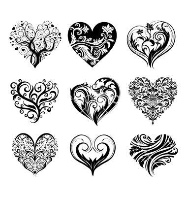 Set of 9 tattoo hearts vector on VectorStock