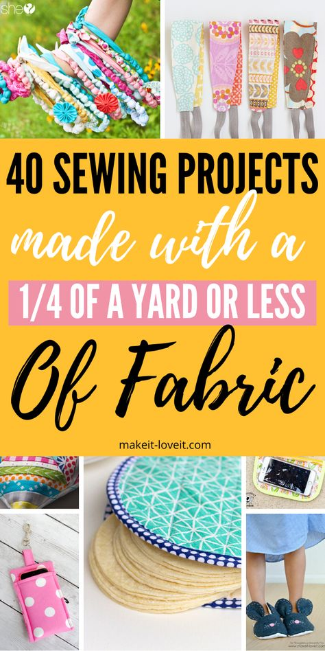 Sewing Projects that Use Of A Yard of Fabric or less! Save that scrap fabric and make one or more of these simple sewing projects! Scrap fabric sewing ideas that will not disappoint! # Simple Sewing Projects Sewing Projects that Use Of A Yard of Fabric Scrap Fabric Projects, Sewing Projects For Beginners, Fabric Scraps, Easy Kids Sewing Projects, Sewing Hacks, Sewing Tutorials, Sewing Crafts, Sewing Tips, Diy Couture