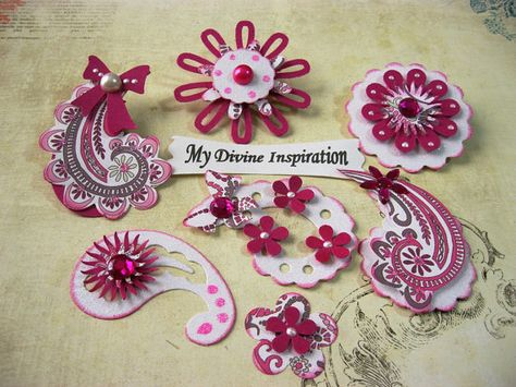 Hot Pink and White Paisley Paper Embellishments and Paper Flowers for Scrapbook Layouts Cards Mini Albums and Papercrafts