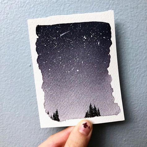 Aquarell Landschaftsmalerei Nacht Himmel Malerei Optionale