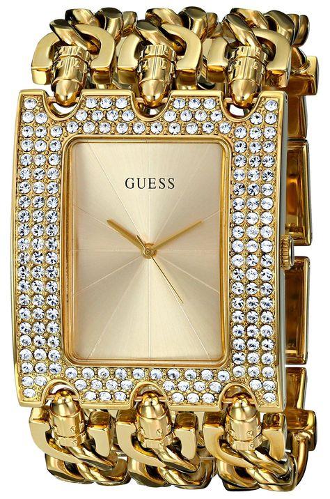 GUESS Women's U0085L1 Rocker Glitz Multi-Chain Gold-Tone Bracelet Watch * Learn more by visiting the image link.
