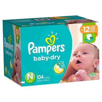 104 Count Pampers Baby Dry Diapers Size N Super Pack