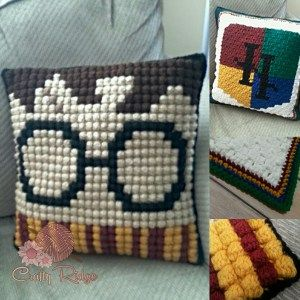 (Harry) Potter Pillow - free crochet pattern from Crafty Ridge Designs.
