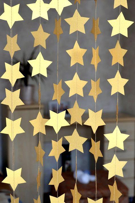 Baby Shower decor, Gold star paper garland, gold party garland, Birthday, Bridal show