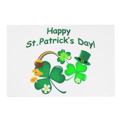 Happy St Patrick 39 S Day Placemat Saint Patricks Day St Patricks Holiday Ireland Irsih Special Party Happy St Patricks Day St Patricks Day St Patrick