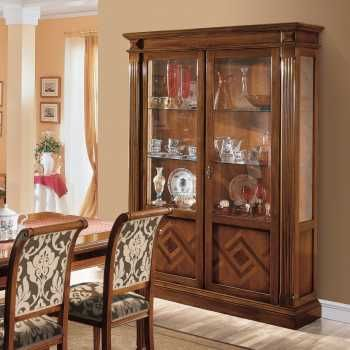 Rossana Classic Wooden Showcase With Inlays In Various Brown Shades Design Furniture Design Interior Display Dining room wooden showcase design