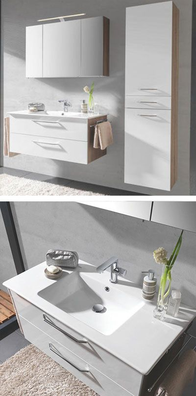 Modernes Badezimmer In Weiss Bestehend Aus Spiegelschrank Und