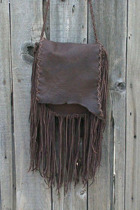 Rustic boho handbag   Fringed leather purse   Crossbody | Etsy