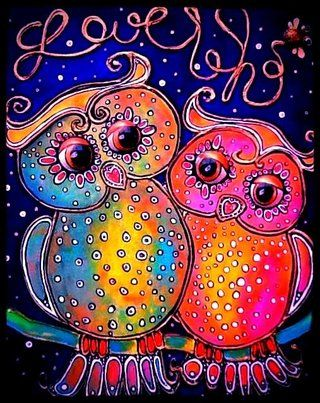 'My First Love' by Lynette Kring - Whimsical owl art