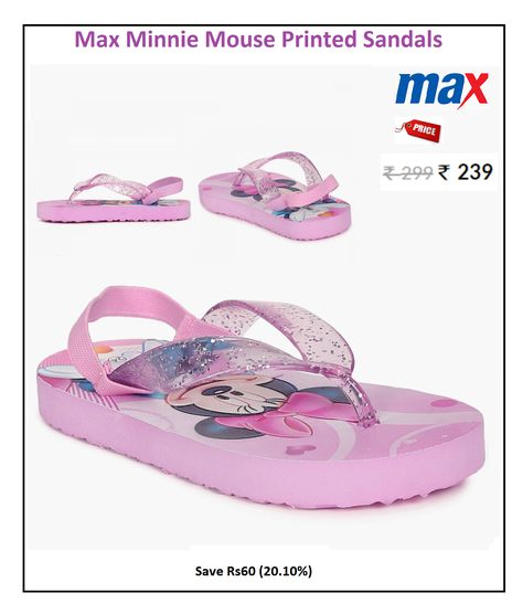 07c8058dce8d  Max  Minnie  Mouse  Printed  Sandals  Style   Casual  Price  ₹239.00   Material   Synthetic