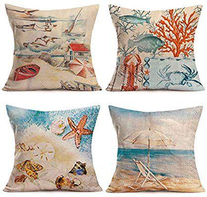 Amazon Com Fukeen Set Of 4 Summer Beach Throw Pillow Cases Marine