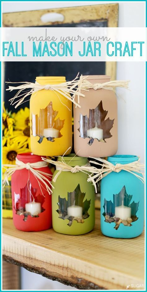 DIY fall mason jar craft as a decor idea for the kitchen, windows, exterior. DIY fall mason jar craft as a decor idea for the kitchen, windows, exterior. Perfect for Thanksgiving or Halloween crafts project. Get the tutorial.