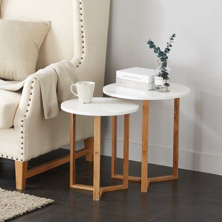 Mainstays Bamboo Collection Wooden Nesting Tables In 2019