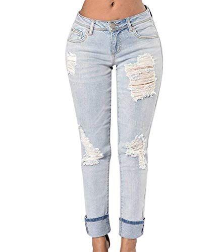 Pantalones Vaqueros Slim Fit Pantalones Vaqueros Pantalones Rasgados Lápiz  Modernas Casual Flacos Novio Colores Sólidos con aba53eae7ec