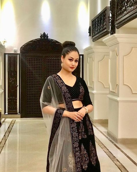 "SOPHIA SHRESTHA on Instagram: ""✨✨ . . . . . . . #fashion #style #stylish #love #traditionalattire #lehenga #picoftheday #glam #weddingseason2020 #love #black…"""