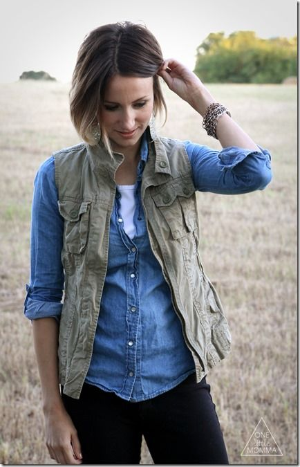 Easy and classic look- chambray shirt, utility vest, and tall boots.