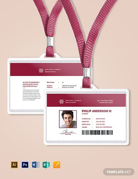 Student Id Card Template Free Pdf Word Psd Apple Pages Illustrator Publisher Id Card Template Identity Card Design Card Design