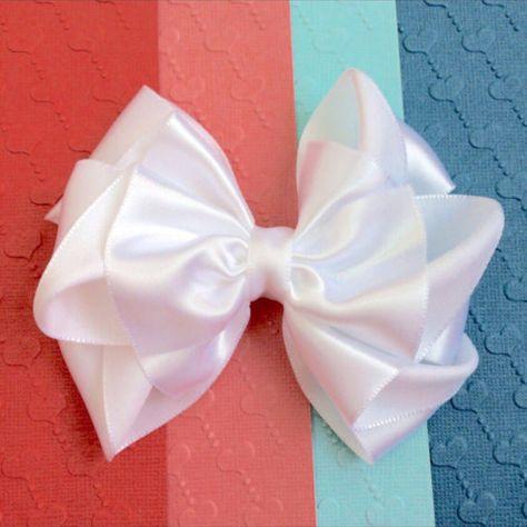 3f6a6290ac39b White Satin Hair Bow