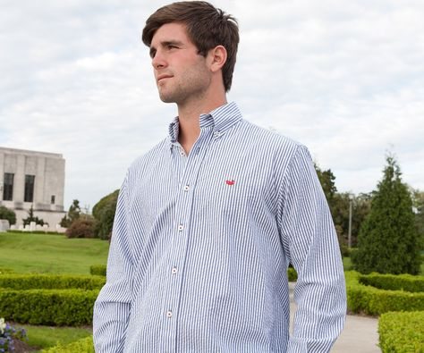 Southern Marsh Everett Gingham Long Sleeve Button Down in Navy and Red