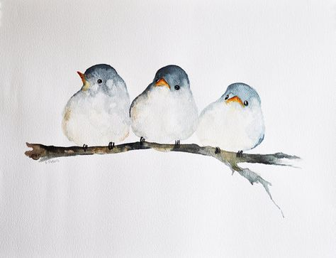 Three Birds  ORIGINAL Watercolor painting / Bird art / Young
