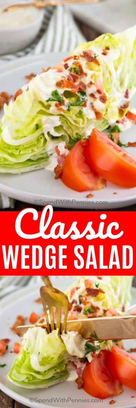 This Classic Wedge Salad has crunchy lettuce and toppings with a fresh and tangy dressing. Crunchy iceberg lettuce, a creamy homemade blue cheese dressing, crispy bacon, fresh tomato, and parsley make this the perfect pair for a juicy steak or chicken entree. #spendwithpennies #wedgesalad #easysalad #easyrecipe #freshrecipe #iceburglettuce #withdressing #homemade #fromscratch #creamydressing
