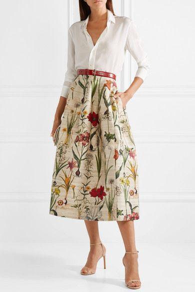 Ecru Floral Print Silk Blend Midi Skirt Oscar De La Renta Long Skirt Outfits For Summer Fashionable Work Outfit Work Outfits Women