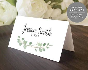Greenery Place Card Template Printable Guest Name Card Folded Place Card Eucalyptus Editable Tem Wedding Name Cards Place Card Template Wedding Place Cards