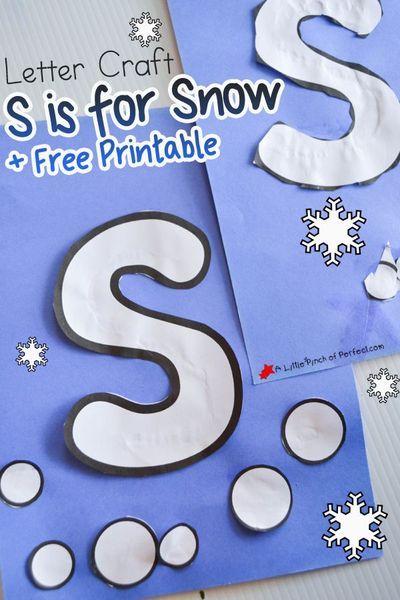Letter S Crafts, Letter S Activities, Snow Activities, Winter Activities For Kids, Preschool Learning Activities, Preschool Activities, Alphabet Crafts, Letter Art, Snow Preschool Crafts