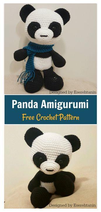 Amigurumi Panda. (Free pattern but needs translating). | Patrones ... | 724x345