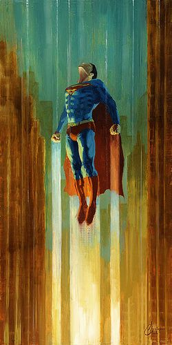 This is an original Superman oil painting by fine artist Christopher Clark. Here's Superman, the classic Man of Steel, blasting up through the skies. I am available for custom commission paintings of all kinds. Superman Anime, Superman Man Of Steel, Batman And Superman, Marvel E Dc, Marvel Heroes, Comic Books Art, Comic Art, Superman Tattoos, Original Superman