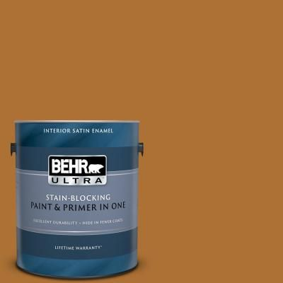 Behr Ultra 1 Gal S H 320 Enchanting Ginger Satin Enamel Interior Paint And Primer In One Exterior Wood Stain Exterior Paint Behr