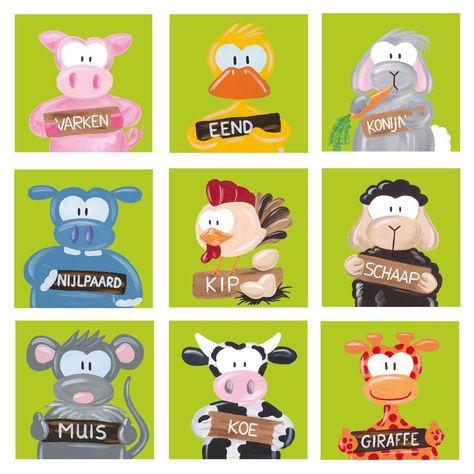 9-luik kinderschilderijtjes boerderij lime groen. Leuk voor in een baby- of kinderkamer. Varken, eend, konijn, nijlpaard, kip, schaap, muis,koe,giraffe. Verkrijgbaar bij www.beessies.com of www.kinderschilderijen.nl