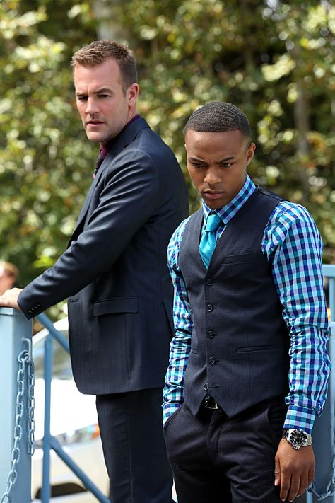 James Van Der Beek as Elijah Mundo bet you can't say that three times fast and Shad Moss as Brody Nelson in CSI: Cyber