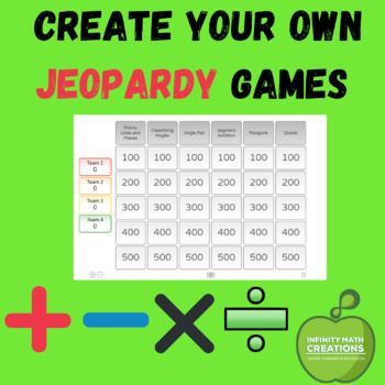 Make Your Own Jeopardy Game Jeopardy Game Free Math Resources Make Your Own Jeopardy