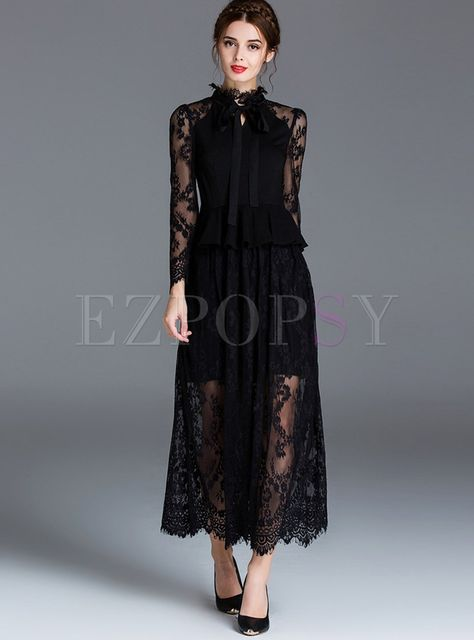 Sexy Lace Slim Pure Color Maxi Dress | Ezpopsy.com