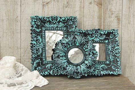 Set of aqua & black mirrors
