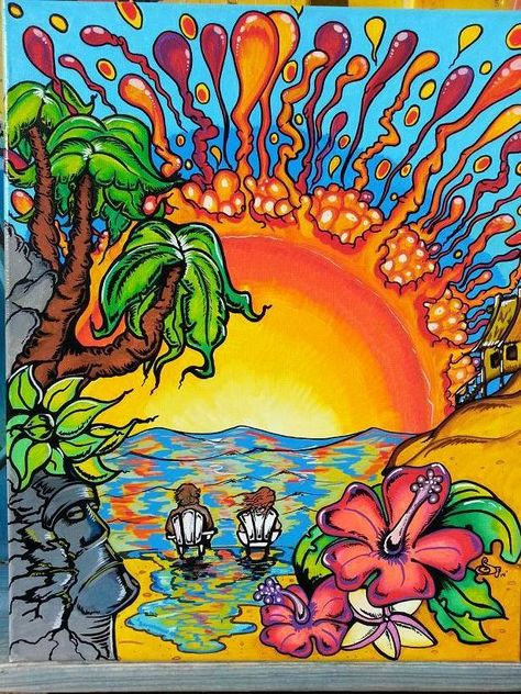 Sunset in paradise  by Sean Farmer Surf art. #sean_farmer, #surfart
