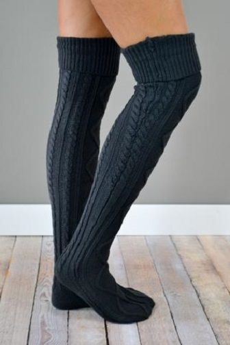 Womens Crochet Cable Knit Over The Knee High Boot Socks Soft Cozy Black OTK Boot