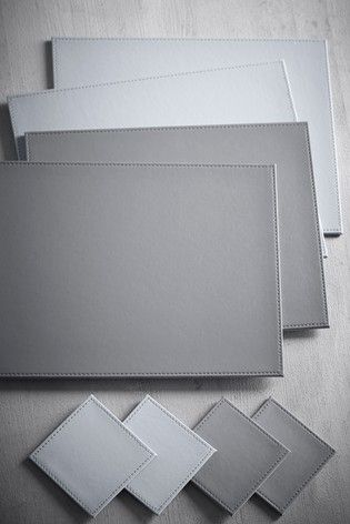 Grey Set Of 4 Reversible Faux Leather Placemats And Coasters Placemats Faux Leather Faux