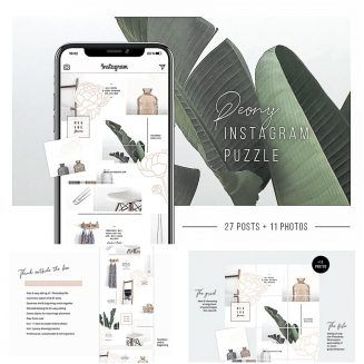 Peony Instagram Puzzle Template Free Graphic Web Design Elements