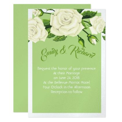 Wedding Invitation Green Roses Invitation Zazzle Com With