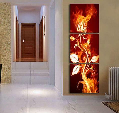 Pas Cher 3 Pièce Abstraite Flaming Fleur Moderne Accueil