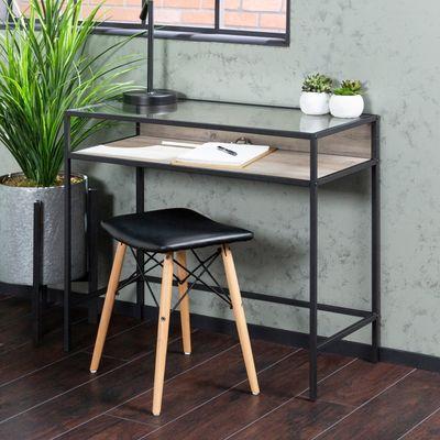contemporary glass top wood metal computer desk home sweet home rh pinterest ie