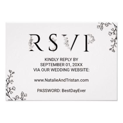 Floral Typography Wedding Website RSVP Card