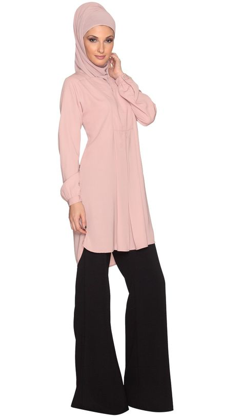 4f1728d16fd Dusty Pink Modest Tunic Dress | Find more Modest Islamic Clothing at  Artizara.com