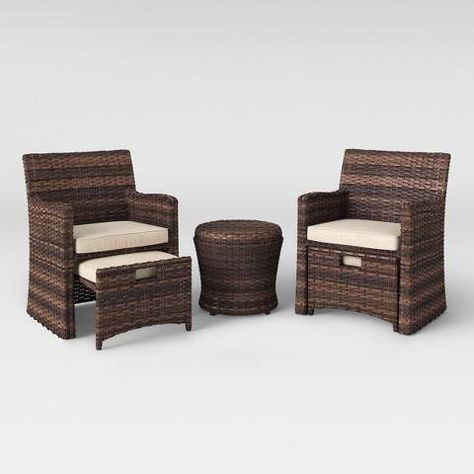 threshold halsted 5pc wicker patio seating set tan outdoor rh pinterest ca