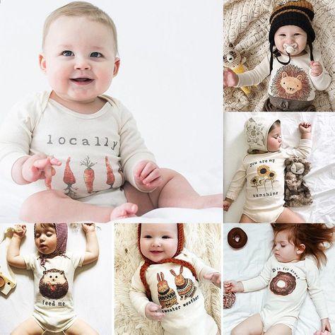 fa18583f9d39 Print Langærmet Baby Bodysuit Bomuld Blødt Spædbarn Babypiger Jumpsuit  O-Neck Baby Drengene Forår Efterår Bobo Valgter Bittesmå Bomuld