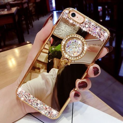 Clear Hard PC Back, Soft TPU Bumper iPhone XR Case,PHEZEN 3D Handmade Luxury Bling Crystal Rhinestone Diamond Glitter Mirror Makeup Case, Protective Case Cover for iPhone XR